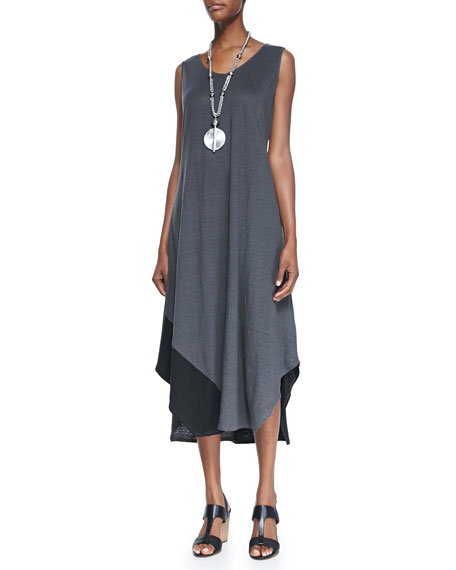 Eileen Fisher Sleeveless Colorblock V-Neck Jersey Dress, Petite
