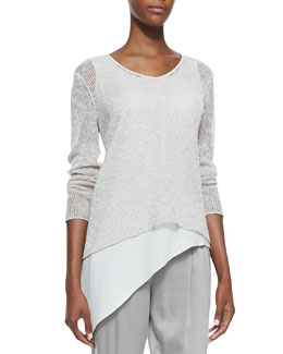 Eileen Fisher Airy Linen V-Neck Top