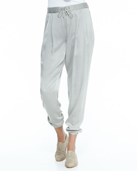 Silk Charmeuse Ankle Pants