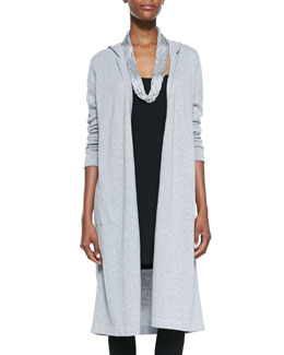 Eileen Fisher Hooded Long Organic Cotton Cardigan