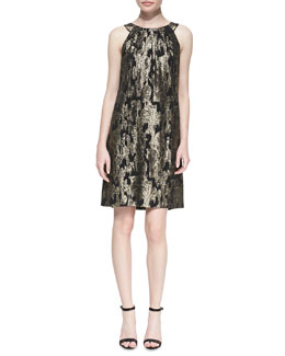 Michael Kors Ikat Gathered Shift Dress