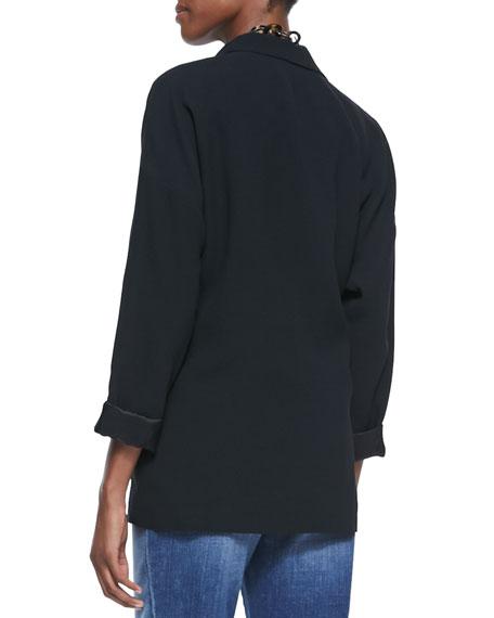 Long Silk Boyfriend Jacket, Petite