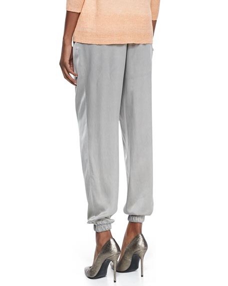 Silk Charmeuse Ankle Pants, Stone, Petite