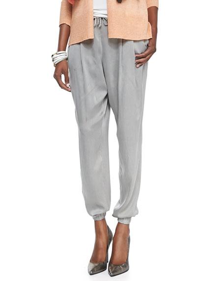Silk Charmeuse Ankle Pants, Stone, Women's
