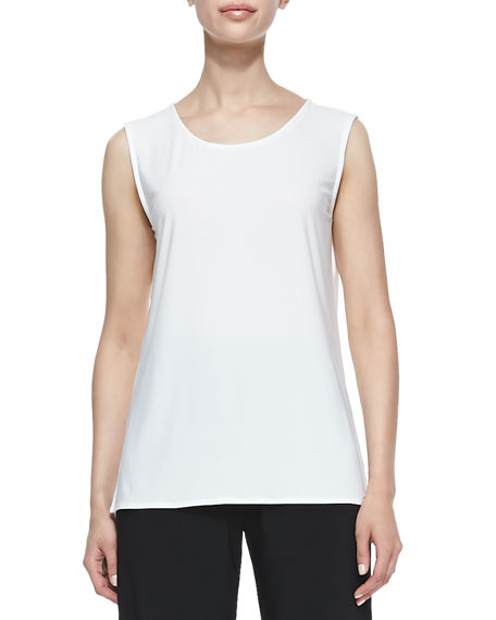 Stretch-Knit Long Tank, White, Women's