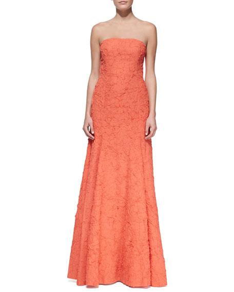 Plisse Georgette Mermaid Gown, Persimmon