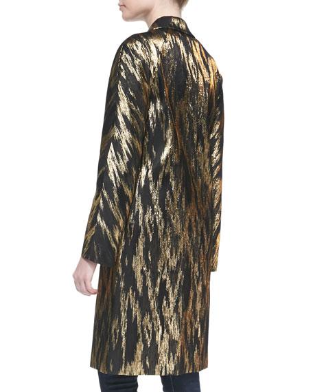 Ikat Jacquard Balmacaan Coat