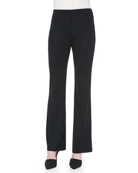 Misook Boot-Cut Knit Pants, Black