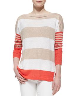 Lauren Hansen Striped Long-Sleeve Linen Top