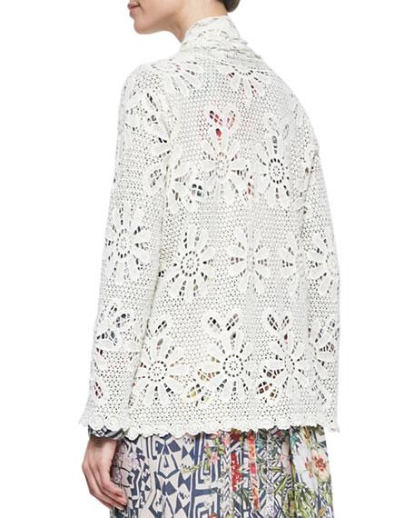 Crochet Cotton Coverup Cardigan, Shell, Women's