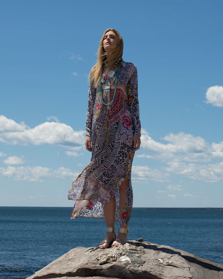 Radiant Printed Button-Front Maxi Shirtdress