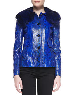Michael Kors Python Jacket with Fox Fur Collar