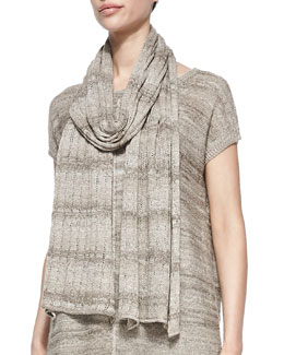 Joan Vass Linen-Blend Drop-Needle Scarf