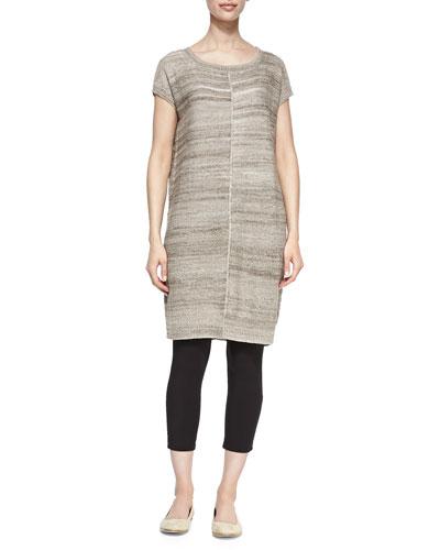 Short-Sleeve Linen-Blend Tunic, Petite