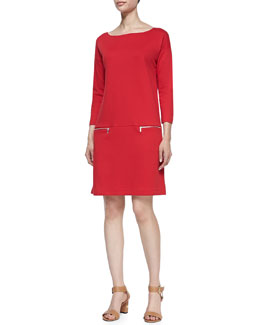 Joan Vass Knit Zip-Pocket Shift Dress, Women's