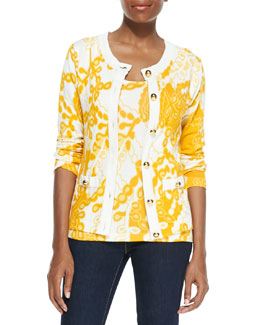 Michael Simon Printed Cardigan with Golden Buttons