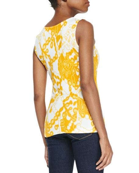 Michael Simon Printed Shell, Yellow Multi, Petite