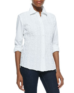Go Silk Button-Down Side-Paneled Pucker Shirt, Petite
