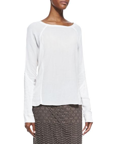 Long-Sleeve Crepe Blouse, Women's