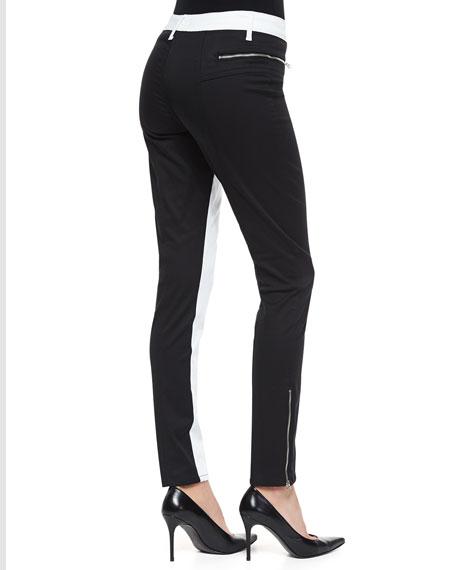 Peace Colorblock Zip-Pocket Skinny Jeans, Black/White