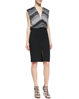 L'Agence Draped Dress With Front Slit