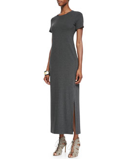 Eileen Fisher Fisher Project Short-Sleeve Jersey Maxi Dress