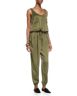 Eileen Fisher Fisher Project Silk Sleeveless Drawstring Jumpsuit