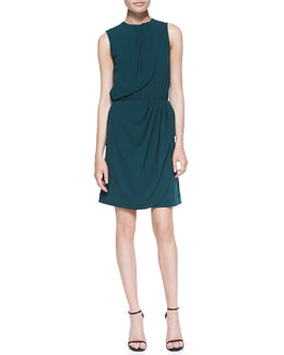 L'Agence Sleeveless Draped Dress, Teal