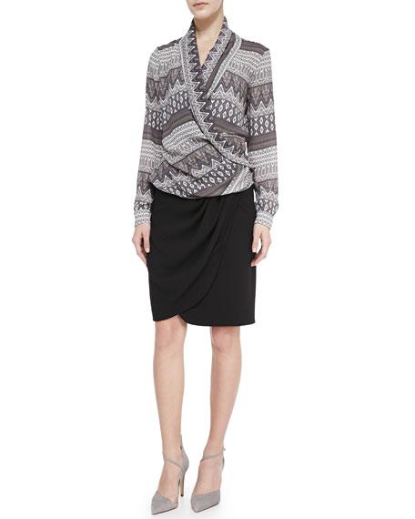 Draped Faux-Wrap Jersey Skirt