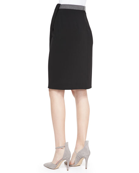 Draped Faux-Wrap Jersey Skirt