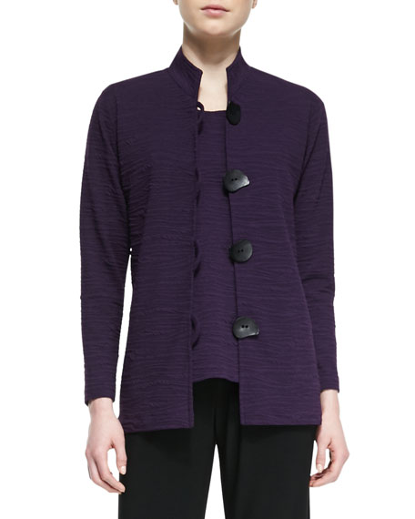 Textured Knit Mandarin-Collar Jacket, Women's