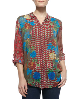 Johnny Was Collection Saydie Georgette Floral-Print Blouse