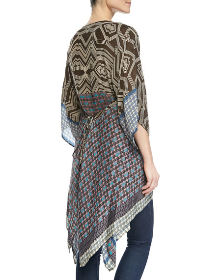 Long Printed Half-Sleeve Tunic, Women's