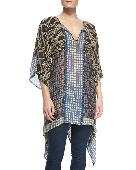 Printed Half-Sleeve Long Tunic