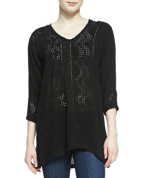 Geo V-Neck Long Blouse, Women's