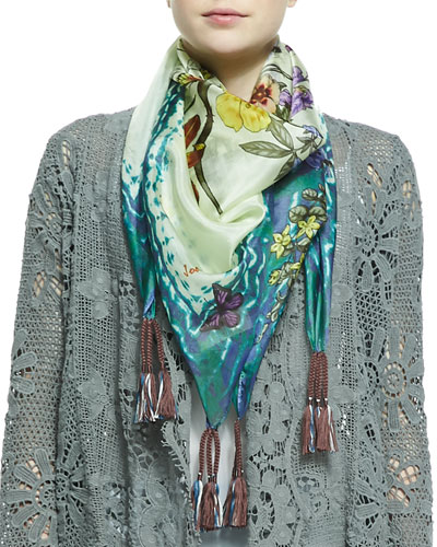 Johnny Was Collection Floral & Butterfly Print Georgette Scarf