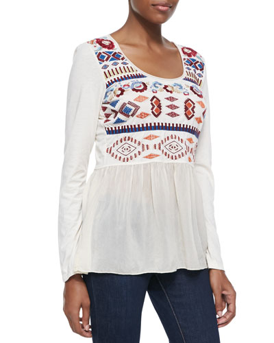 JWLA for Johnny Was Elaine Mix-Media Top, Women's
