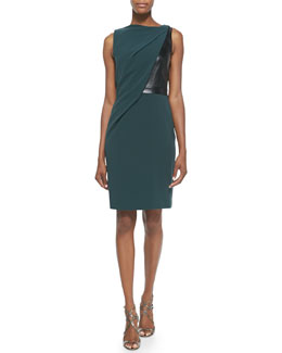 Alexander Wang Draped Jersey Leather Dress, Chlorophyll