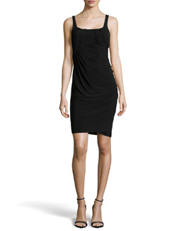 Alexander Wang Sleeveless Draped Jersey Dress, Black