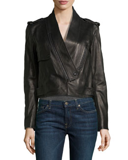 Alexander Wang Shawl-Collar Leather Motorcycle Jacket
