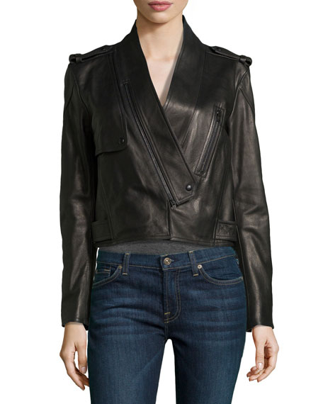 Shawl-Collar Leather Motorcycle Jacket