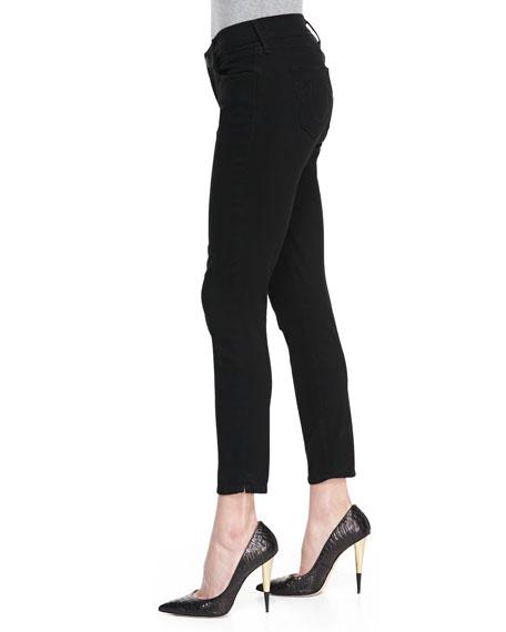 Linda Cropped Stretch Skinny Jeans, Black