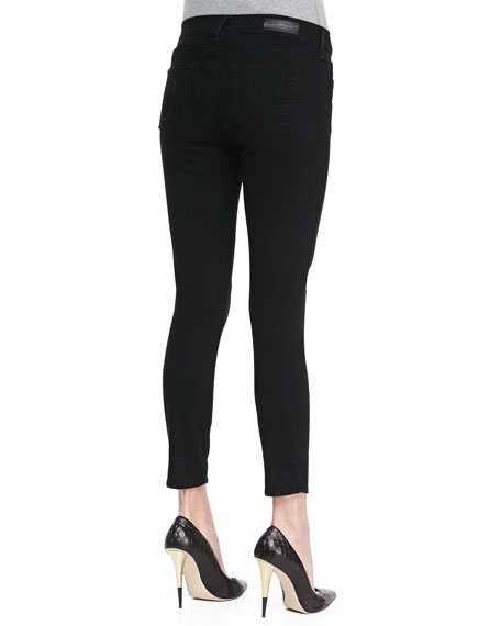 Linda Cropped Stretch Skinny Jeans, Black