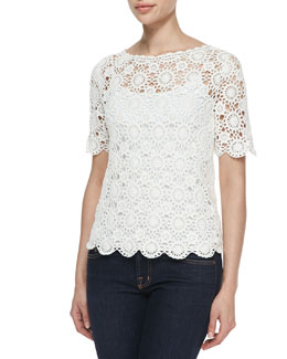 Joie Alizeh Cotton Boat-Neck Crochet Top