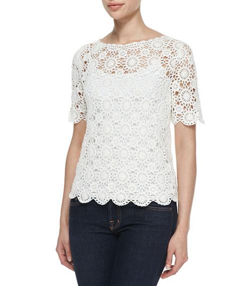 Alizeh Cotton Boat-Neck Crochet Top