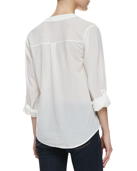 Maurie Crepe-Cotton V-Neck Shirt