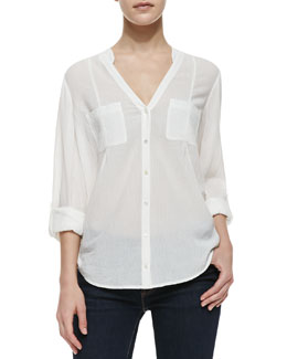 Joie Maurie Crepe-Cotton V-Neck Shirt