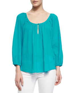 Joie Khan Long-Sleeve Keyhole Top
