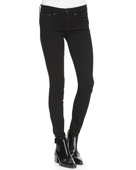 Five-Pocket Denim Leggings, Black