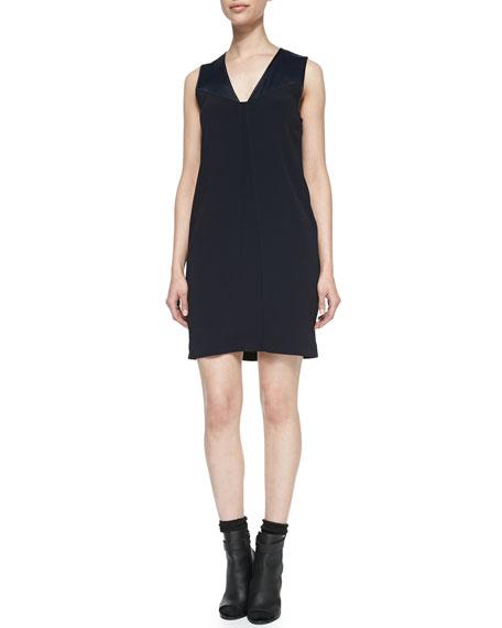 Satin-Top Sleeveless Crepe Dress